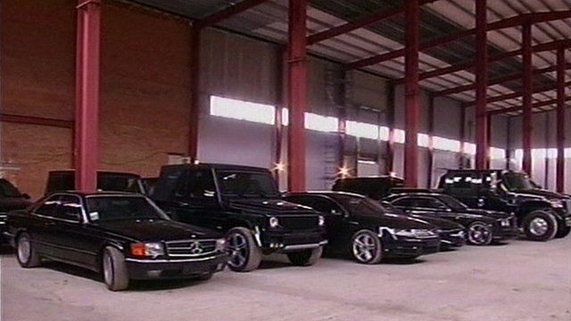 Luxury cars in warehouse, Gostomel