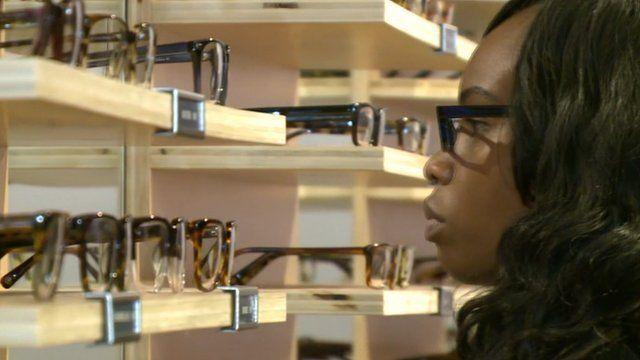 Inside optician showroom