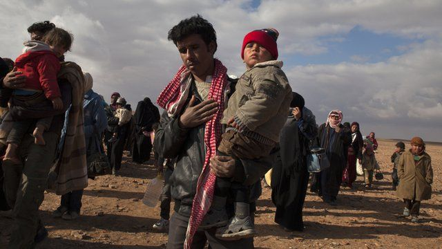 Syrian refugees arriving at a camp in Jordan.
