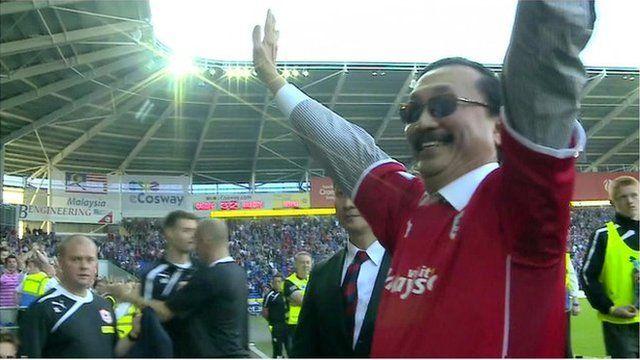 Vincent Tan at Cardiff soccer stadium