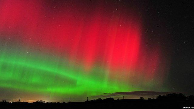 The Northern Lights in Humbie, East Lothian, Scotland