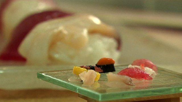 Mini sushi on a small plate