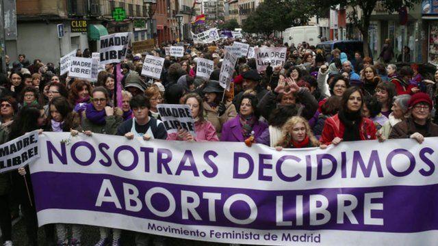 Women demonstrate in Madrid