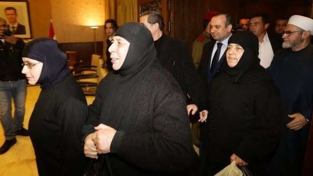 Kidnapped nuns arrive at Jdeidet Yabus on the Syrian side of the border with Lebanon after an arduous nine-hour journey that took them from Yabrud into Lebanon, and then back into Syria on 10 March 2014