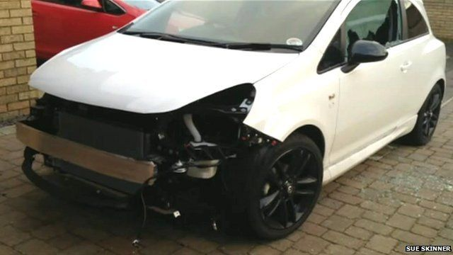 Vauxhall Corsa with front stolen