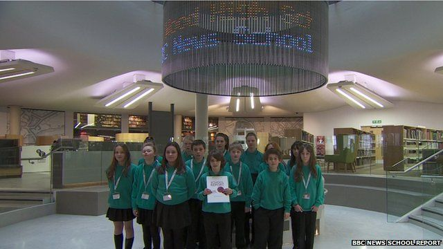 Group of School Reporters inside Manchester Central Library