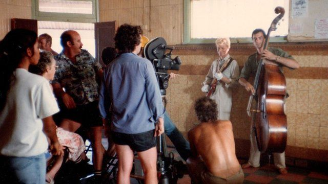 David Bowie and band recording the video to Let's Dance