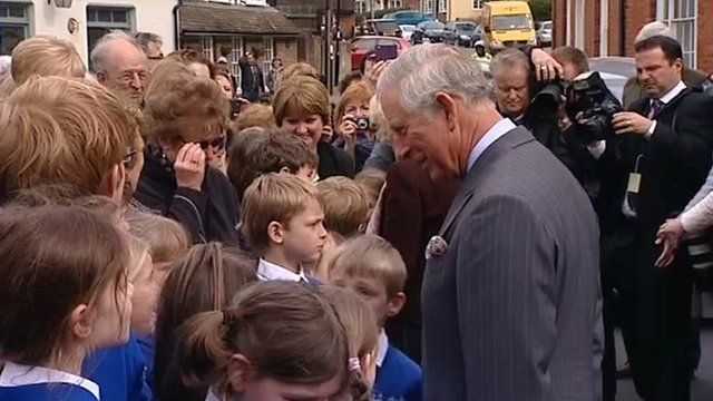 Prince Charles with school children in Yalding