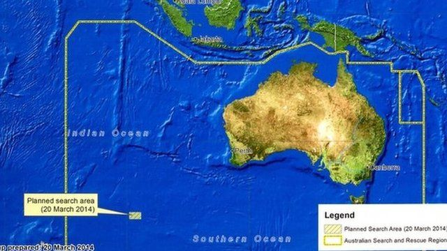 A diagram showing the search area for Malaysia Airlines Flight MH370 in the southern Indian Ocean is seen during a briefing by John Young, general manager of the emergency response division of the Australian Maritime Safety Authority (AMSA), in Canberra on 20 March 2014
