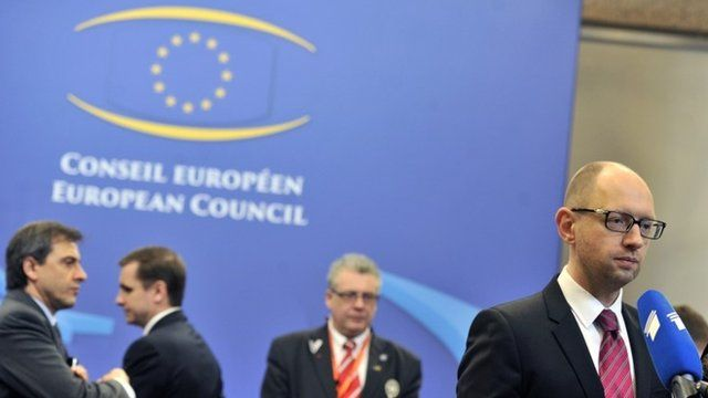Ukrainian Prime Minister Arseniy Yatsenyuk holds a press conference at the EU headquarters in Brussels