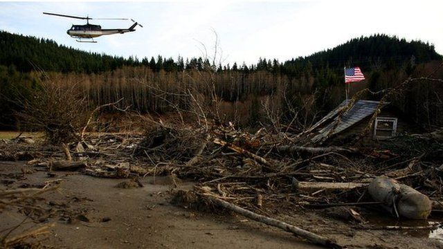 Helicopter over damage caused by US mudslide