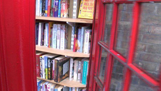 Books inside telephone box