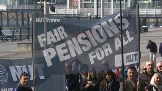 Rally outside the Senedd in Cardiff Bay