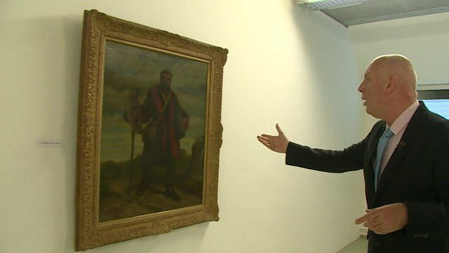 Stephen Evans inside vault of artworks