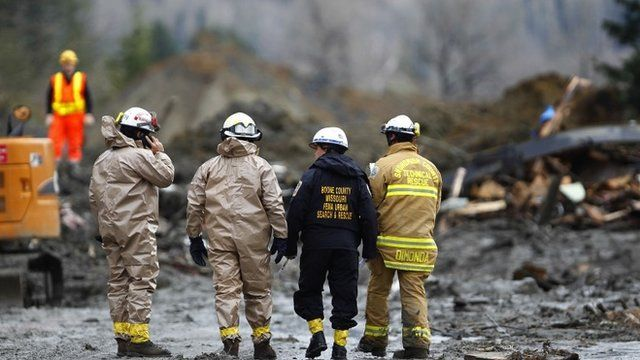 Rescue workers on Highway 530