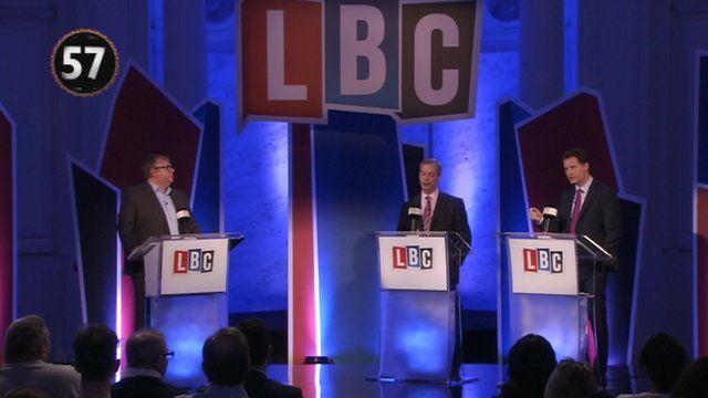 Nick Ferrari, Nigel Farage and Nick Clegg at LBC debate