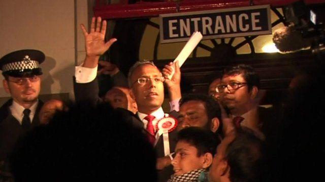 Lutfur Rahman, the Bangladeshi mayor of Tower Hamlets, on election night in 2010