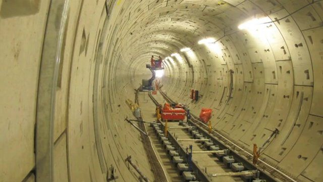 Works on a railway tunnel under London