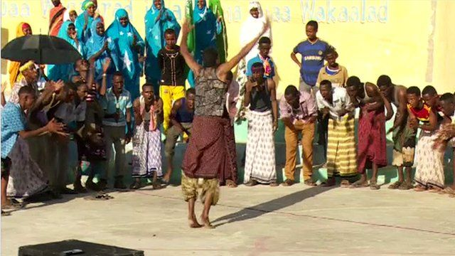 Somalis dancing at the Unknown Soldier square in Mogadishu
