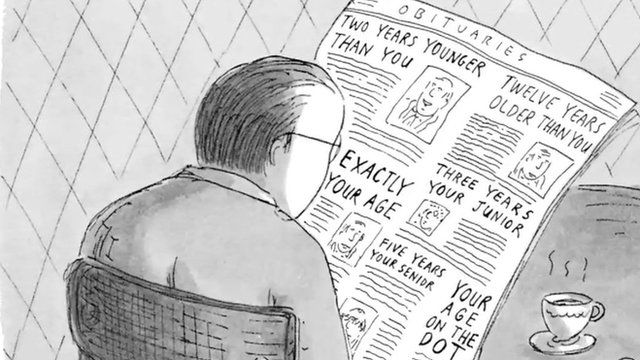 New Yorker cartoon about reading the obituaries