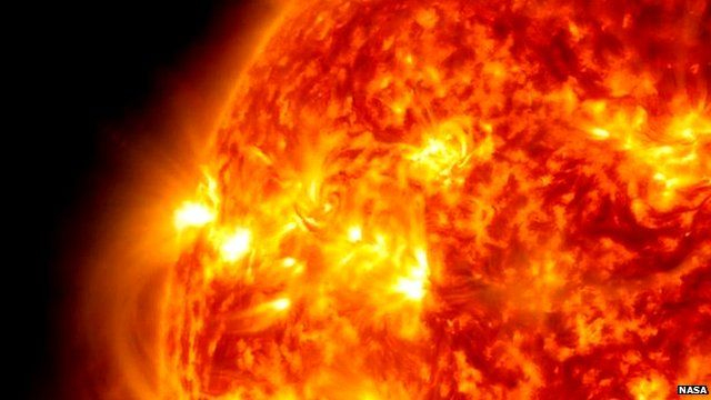 A solar flare from the sun