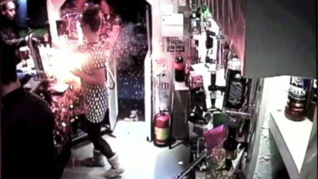 Laura Baty is hit by an e-cigarette at The Buck Inn, in Richmond, North Yorkshire
