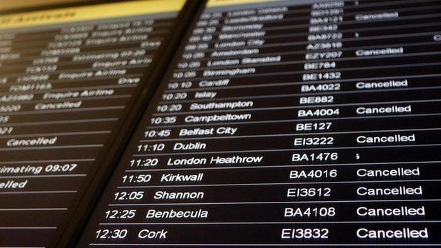 An airport departure board