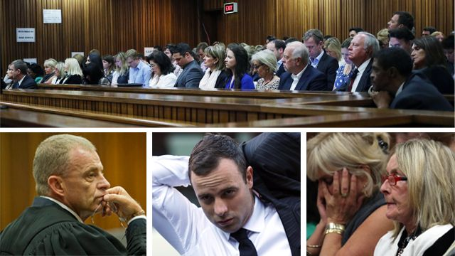 Clockwise from top, a wide shot of the Pretoria court room, Reeva Steenkamp's mother June, Oscar Pistorius, and state prosecutor Gerrie Nel
