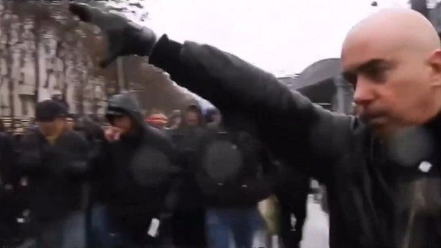 Still from footage of anti-Semitic rally in Paris the day before Holocaust Memorial Day, January 2014
