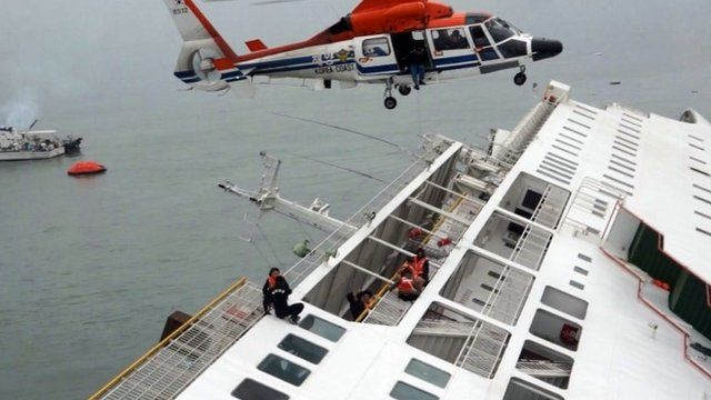 Passengers from a ferry sinking off South Korea's southern coast are rescued by a South Korean Coast Guard helicopter