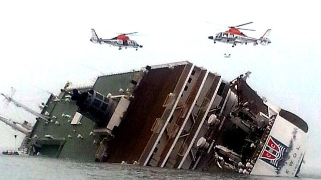 Helicopters over sinking ferry