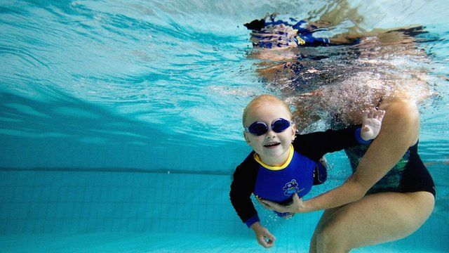 Small child under water in swimming pool