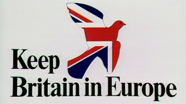"""""""Keep Britain in Europe"""" slogan from the """"Yes"""" campaign in the 1975 EEC referendum"""