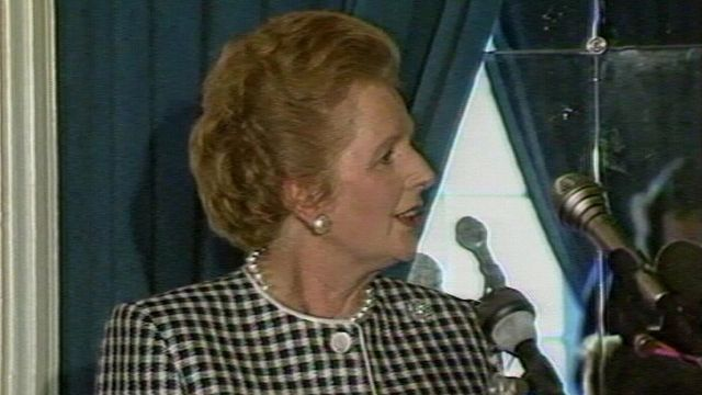 Margaret Thatcher speaking on European matters during a speech in Luxembourg