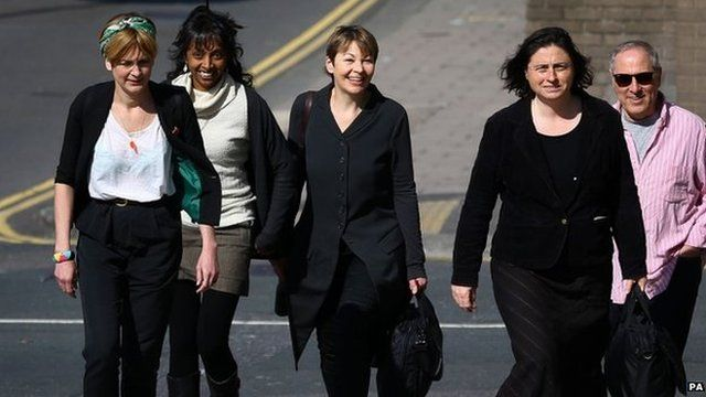 Caroline Lucas with supporters and co-defendants