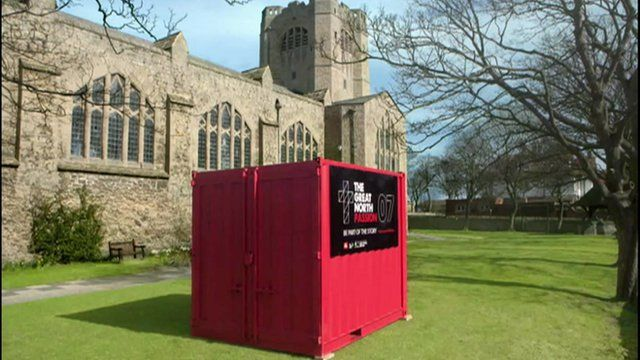 Container outside church