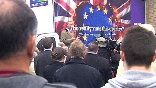 Nigel Farage unveils UKIP's election poster