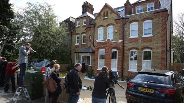 Reporters outside home in New Malden