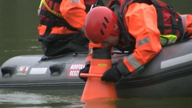 Search of Bawsey Pits after two drowned