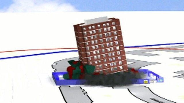 Tower block demolition graphic