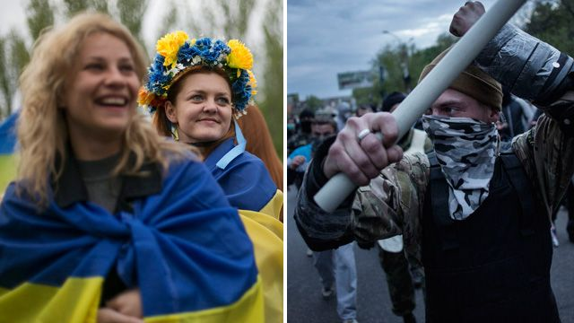 Left- peaceful pro-Ukrainian demonstrators in Donetsk, and right- a pro-Russian activist wields a metal bar