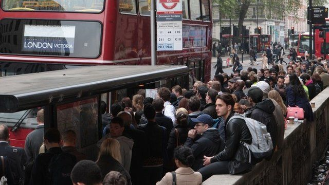 Commuters queue to get on replacement buses