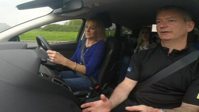 Louise Minchin and driving instructor