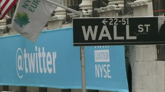A Twitter sign at Wall Street