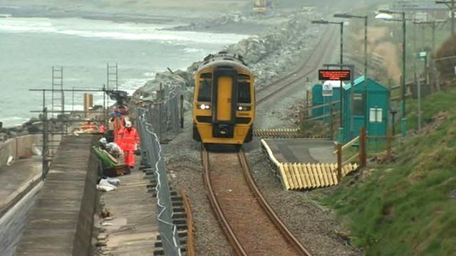 Train on a repaired stretch of the Cambrian Coast railway line