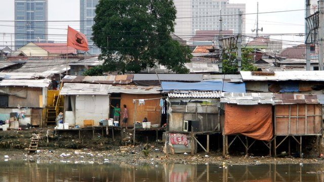 A shanty town in Indonesia