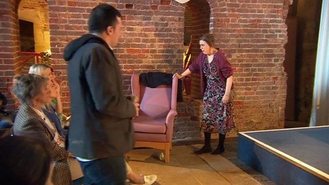 Scene from play, 'Mum, can you lend me twenty quid'