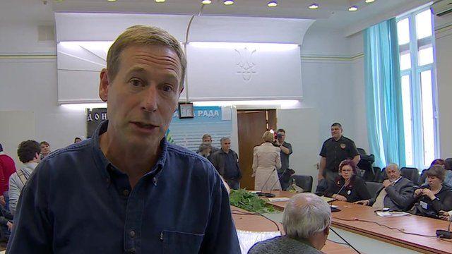 Richard Galpin at activists' meeting