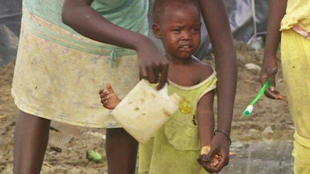 A child in a South Sudan camp
