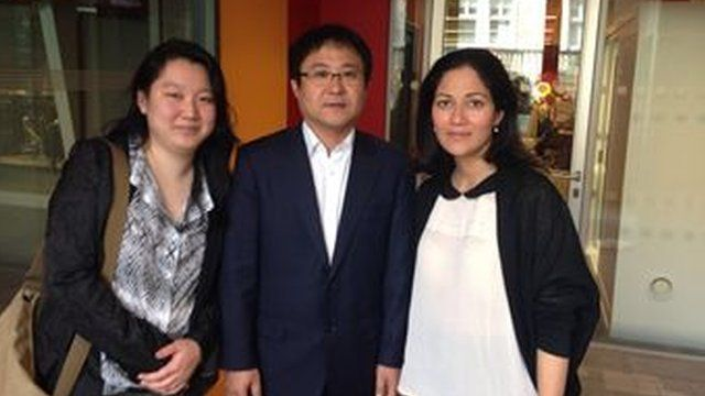 Shirley Lee, Jang Jin-sung, the BBC's Mishal Husain